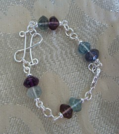 Rainbow Fluorite Pisces Bracelet - Silver-filled/Silver-plated